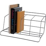 Wire Book Rack, 3 Compartments, Silver