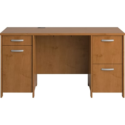Bush Business Envoy 58W Double Pedestal Desk Kit, Natural Cherry