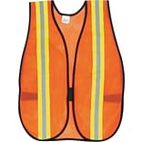 MCR Crews®, Inc. Orange Safety Vest, 2 Reflective Strips, Polyester, Side Straps, One Size