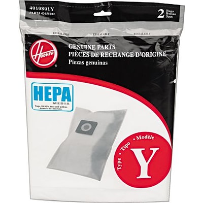 Hoover® Vacuum Replacement Bags, TYPE Y Disposable HEPA Bags for Hoover® Windtunnel Vacuums, 2PK
