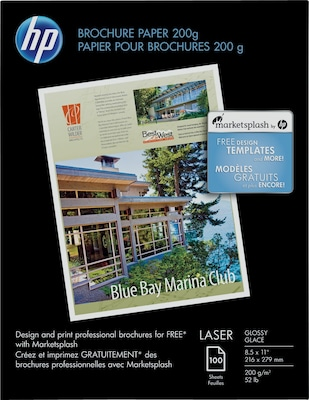 "HP Brochure Paper, Glossy, 8 1/2"" x 11"", 100/Pack"
