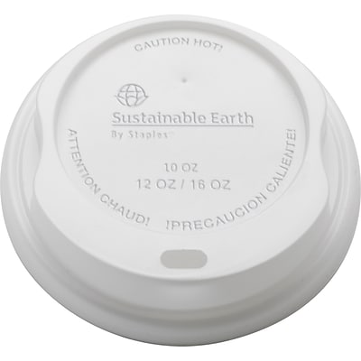Sustainable Earth By Staples® Compostable Hot Cup Lids, 10-16 oz., White, 500/Ct