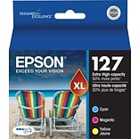 EPSON® 127 Extra High-Capacity Ink Cartridges; Cyan, Yellow, Magenta, Multi-pack (3 cart per pack)