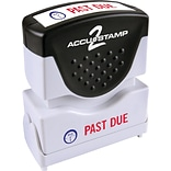 Accu-Stamp® Two-Color Shutter Stamp, PAST DUE with Microban Protection, Red/Blue Ink