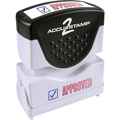 Accu-Stamp2® Two-Color Pre-Inked Shutter Message Stamp, APPROVED, 1/2 x 1-5/8 Impression, Red/Blue Ink (035525)