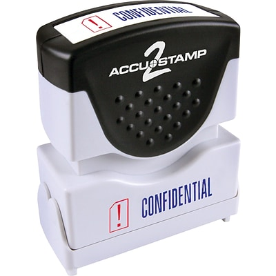 Accu-Stamp2® Two-Color Pre-Inked Shutter Message Stamp, CONFIDENTIAL, 1/2 x 1-5/8 Impression, Blue/Red Ink (035536)