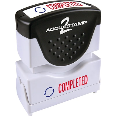 Accu-Stamp2® Two-Color Pre-Inked Shutter Message Stamp, COMPLETED, 1/2 x 1-5/8 Impression, Red/Blue Ink (035538)