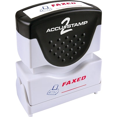 Accu-Stamp2® Two-Color Pre-Inked Shutter Message Stamp, FAXED, 1/2 x 1-5/8 Impression, Red/Blue Ink (035533)