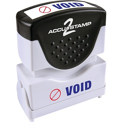 Accu-Stamp2® Two-Color Pre-Inked Shutter Message Stamp, VOID, 1/2 x 1-5/8 Impression, Blue/Red Ink (035539)