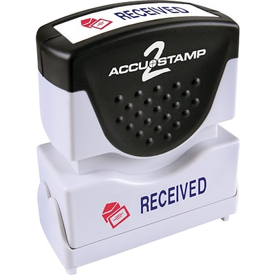 Accu-Stamp2® Two-Color Pre-Inked Shutter Message Stamp, RECEIVED, 1/2 x 1-5/8 Impression, Blue/Red Ink (035537)