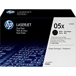 HP 05X (CE505XD) Black High Yield Original LaserJet Toner Cartridges, Multi-pack (2 cart per pack)