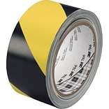 3M™ #766 Striped Vinyl Safety Tape, Black/Yellow, 3x36yds., 12/Case