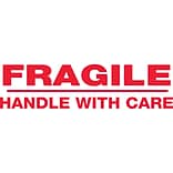 Tape Logic® Pre-Printed Carton Sealing Tape, Fragile Handle With Care, 2.2 Mil, 2 x 110 yds., Red