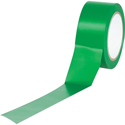 Industrial Vinyl Safety Tape, Solid Green, 3 x 36yds., 16/Case