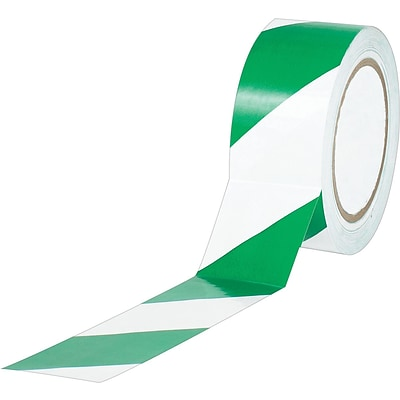 Industrial Vinyl Safety Tape, Green/White Striped, 3 x 36yds., 16/Case