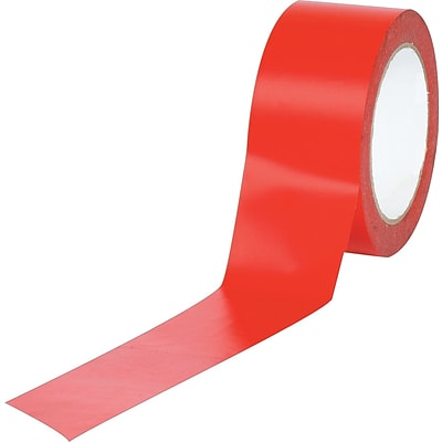 Industrial Vinyl Safety Tape, Solid Red, 2 x 36 yds., 24/Case