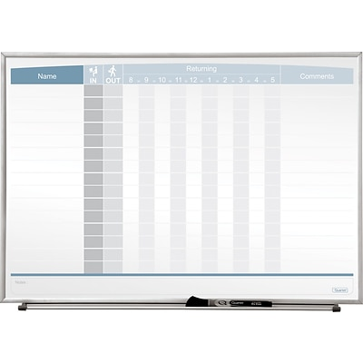 Quartet Matrix® In/Out Board, 23 x 16, Magnetic, Track Up To 15 Employees