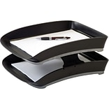 Storex Durable Plastic Letter Tray, 2.75 x 10.75 x 14, Black, 2/Pack (70107B06C)