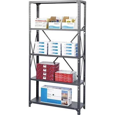 Safco® 75 High Commercial Shelving Kit, 5 Shelves and Post Kit, 36Wx18D