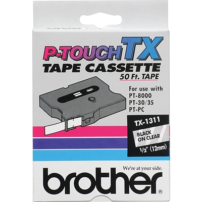 Brother TX TX1311 Label Maker Tape, 1W, Black on Clear