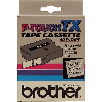 Brother TX1511/CX1511 1 Tape, Black on Clear