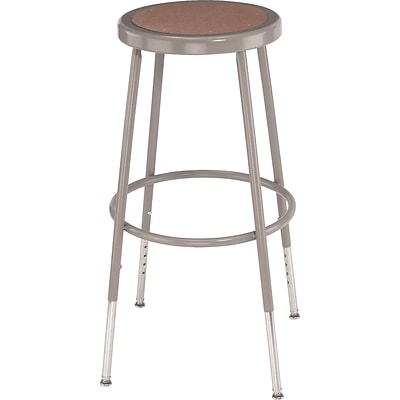 NPS® 25 - 32 1/2 Hardboard Round Adjustable Stool, Gray, 4/Pack (6224H4)