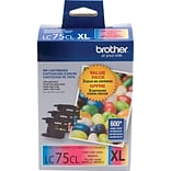 Brother LC 75 Color Combination Ink Cartridges, High Yield, 3/Pack (LC753PKS)
