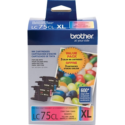 Brother Genuine LC753PKS Cyan, Magenta, Yellow High Yield Original Ink Cartridges Multi-pack (3 cart per pack)