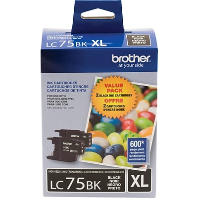 Brother LC 75 Black Ink Cartridges, High Yield, 2/Pack (LC752PKS)