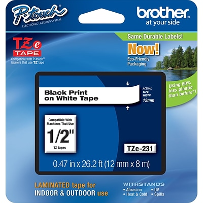 Brother® TZe Series Tape, 1/2, Black Lettering on White Label Tape, 32/Carton