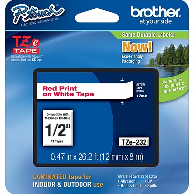 Brother® TZe Series Tape, 1/2, Red Lettering on White Label Tape, 6/Carton