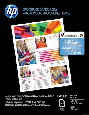 "HP Color Laser Brochure Paper, 8 1/2"" x 11"" Glossy, 150"