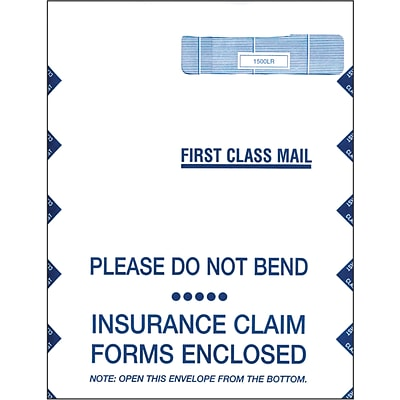 Health Insurance Claim Form Window Envelopes, Self-Seal, Top Loading, 9Wx12-1/2H, 100/Box
