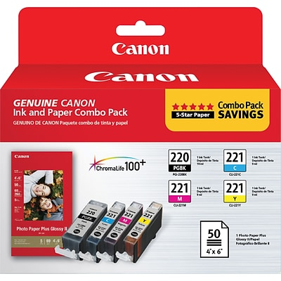 Canon® PGI-220 Black/CLI-221 Tri-Color Ink Cartridge and Paper Multi-pack (4 cart per pack)