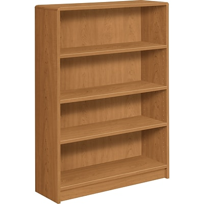 HON® Radius-Edge Laminate Bookcases, 48-3/4H, 4 Shelves, Harvest