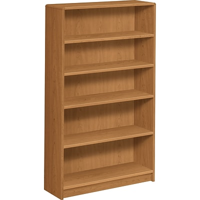 HON® Radius-Edge Laminate Bookcases, 60-1/8H, 5 Shelves, Harvest
