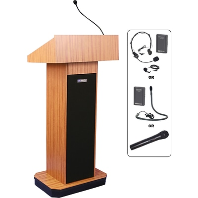AmpliVox® SW505 Wireless Exec Sound Column Lectern w/ Lapel Microphone; Mahogany