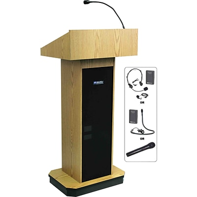 AmpliVox Sound Systems Executive Computer Lectern, Oak (SW505-OK)