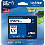 Brother® TZe Series Tape, 1/2, Black Lettering on White Label Tape