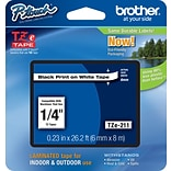 Brother® TZe Series Tape, 1/4,  Black Lettering on White Label Tape