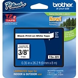 Brother® TZe Series Tape, 3/8, Black Lettering on White Label Tape