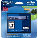 Brother® TZe Series Tape, 1/2, Black Lettering on Clear Label Tape