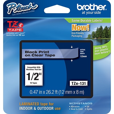 Brother TZe-131 Label Maker Tape, 0.47W, Black On Clear