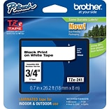 Brother® TZe Series Tape, 3/4, Black Lettering on White Label Tape