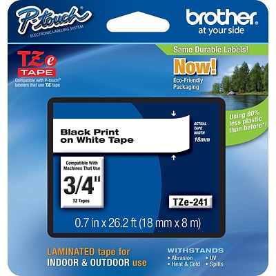 Brother TZE241 Label Maker Tape, 3/4W, Black On White
