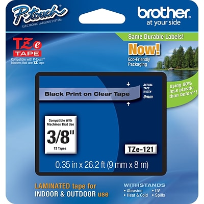 Brother® TZe Series Tape, 3/8, Black Lettering on Clear Label Tape