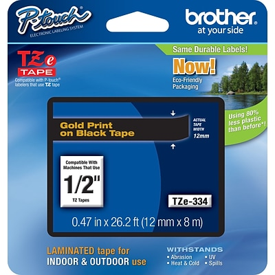 Brother® TZE Series Tape, 1/2, Gold Lettering on Black Label Tape