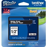 Brother® TZe Series Tape, 1/2, White Lettering on Black Label Tape