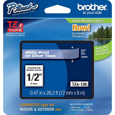 Brother TZE135 Label Maker Tape, 0.47W, White On Clear