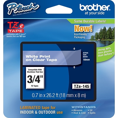 Brother® TZe Series Tape, 3/4, White Lettering on Clear Label Tape